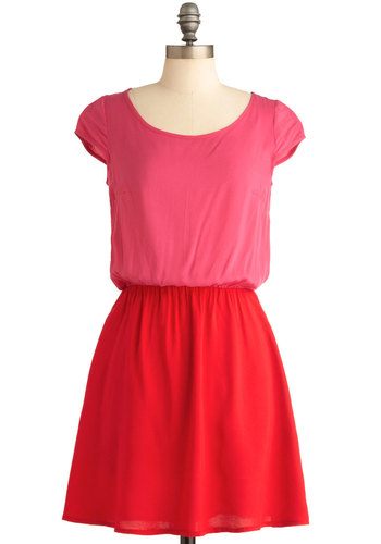 Delicious Duo Dress - Mid-length, Pink, Cap Sleeves, Red, Solid