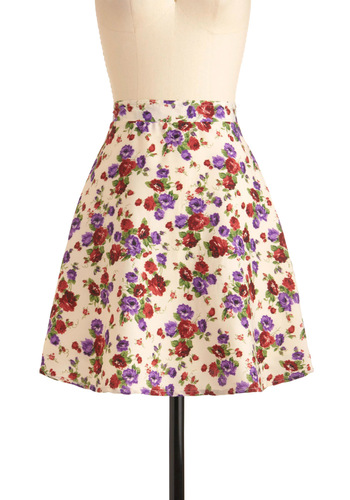 Floral Aura Skirt in Cream - Mid-length, Cream, Multi, Red, Green, Purple, Floral, Casual, A-line