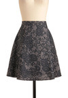 Floral Aura Skirt in Black - Mid-length, Black, White, Floral, Lace, Casual, A-line