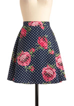 Floral Aura Skirt in Navy