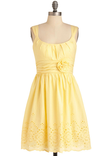 Mint Milkshake Dress in Banana - Yellow, Solid, Eyelet, Flower, Pleats, Scallops, Casual, A-line, Sleeveless, Mid-length