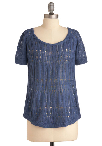 Lounging Lakeside Sweater - Mid-length, Casual, Blue, Cutout, Knitted, Short Sleeves