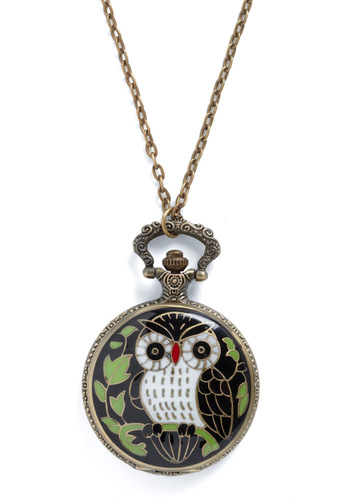 Keep an Owl on the Time Necklace - Casual, Vintage Inspired, Multi, Owls, Print with Animals
