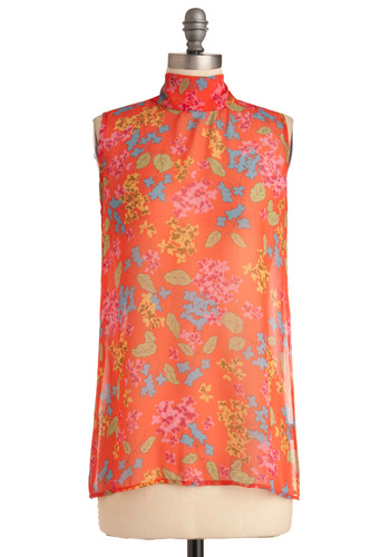 Blissful Branches Top - Casual, Orange, Multi, Yellow, Green, Blue, Pink, Floral, Sleeveless, Mid-length