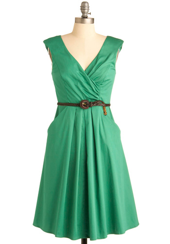 Occasion by Me Dress - Long, Vintage Inspired, Green, Solid, A-line, Sleeveless, Pockets, Casual