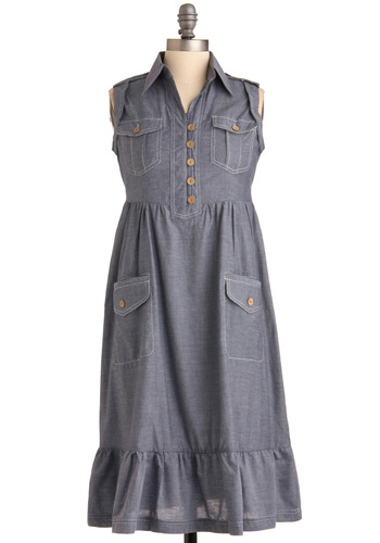 Cabin a Wonderful Time Dress - Long, Casual, Blue, Buttons, Pockets, Ruffles, Sleeveless, Folk Art