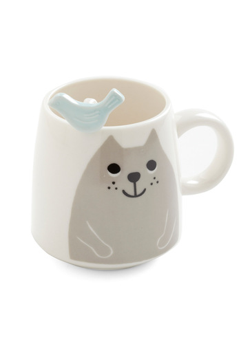 Cat and Grouse Mug Set - White, Blue, Grey