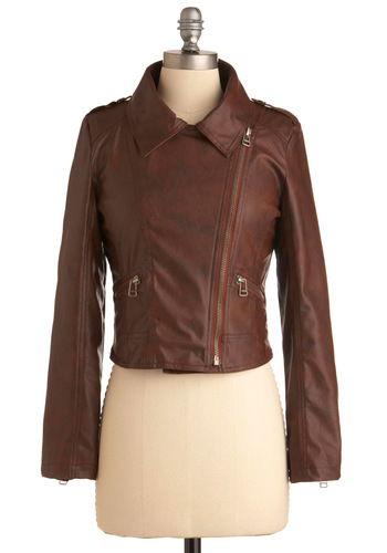 Chocolate Bar None Jacket - Casual, Brown, Solid, Epaulets, Exposed zipper, Pockets, Urban, Long Sleeve, Rockabilly, Military, 1.5, Short