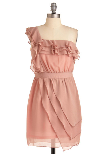 Front Rose Center Dress - Wedding, Pink, Solid, Ruffles, Tiered, Mini, One Shoulder, Mid-length, Party, Cocktail