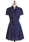 Library Atrium Dress - Mid-length, Vintage Inspired, Blue, Orange, Print, Pockets, White, Work, Short Sleeves