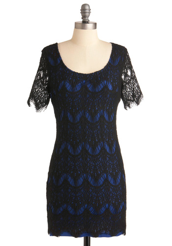 Meet Me on the Terrace Dress - Mid-length, Party, Vintage Inspired, Black, Lace, Shift, Short Sleeves, Blue