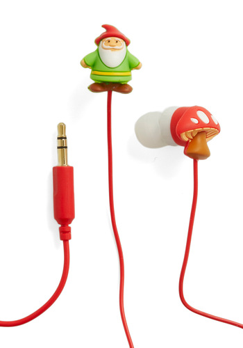 Enchanted Playlist Earbuds by Decor Craft Inc. - Multi, Green, White, Mushrooms, Fairytale, Kawaii, Quirky, Travel