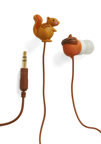 Music Nut Earbuds by Decor Craft Inc. - Brown, Kawaii, Quirky, Travel