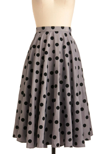 Give Us a Spin Skirt - Long, Party, Vintage Inspired, 50s, Grey, Black, Polka Dots, A-line, Pockets, Rockabilly, Press Placement, High Waist, Fit & Flare