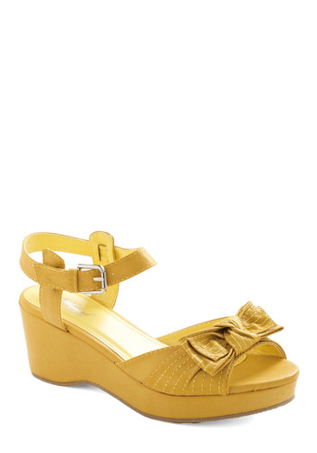 Sunset Lemonade Sandal - Casual, Yellow, Solid, Bows, Summer, Rockabilly, Wedge