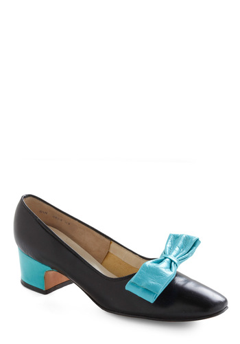 Vintage Reserve Alice Heel - Black, Multi, Blue, Bows, Vintage Inspired, 50s, 60s, Low