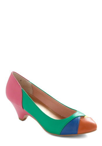 Walk of Ages Heel in Green by BC Shoes - Green, Multi, Orange, Yellow, Blue, Pink, Cutout, Casual, Spring, Faux Leather, Mid