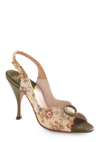 Vintage Reserve Philomena Heel - Cream, Multi, Green, Multi, Floral, Buckles, Vintage Inspired, 50s