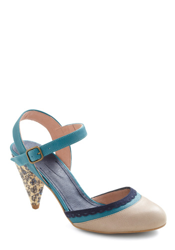 Tea-l for Two Heel - Wedding, Casual, Vintage Inspired, Blue, Tan / Cream, Floral, Buckles, Scallops, International Designer