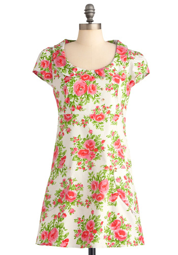 Posy for the Camera Dress - Short, Casual, Vintage Inspired, Multi, Green, Pink, White, Floral, Peter Pan Collar, Pockets, 60s, Sheath / Shift, Cap Sleeves, Spring, International Designer