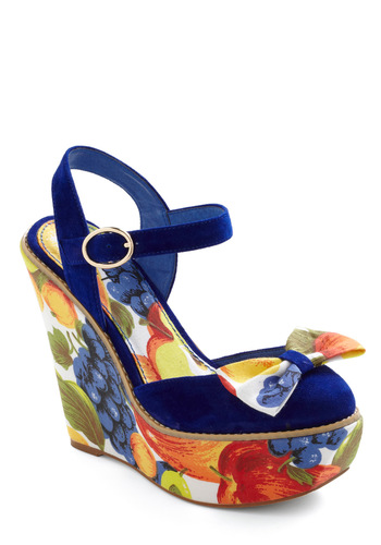 Ripe This Way Wedge by Shellys of London - Casual, Statement, Multi, Multi, Print, Bows, Red, Orange, Yellow, Green, Blue, Fruits, Wedge