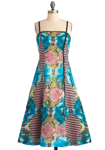 Tracy Reese Dreaming of You Dress by Tracy Reese - Long, Party, Statement, Yellow, Green, Blue, Pink, Black, Stripes, Floral, Buttons, Pockets, A-line, Spaghetti Straps