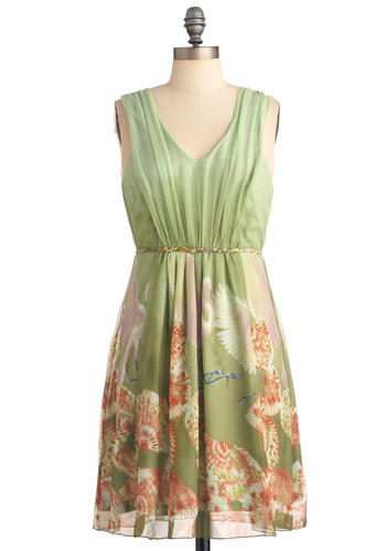 Behind the Scenery Dress in Short by Traffic People - Mid-length, Green, Print, Pleats, Sheath / Shift, Sleeveless, Orange, White, Wedding, Party, Spring