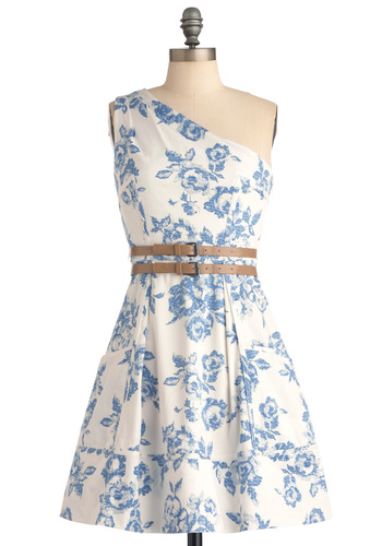 Place Setting the Scene Dress - Mid-length, Party, Blue, Brown, Floral, Buckles, Pleats, Pockets, A-line, One Shoulder, Spring, White
