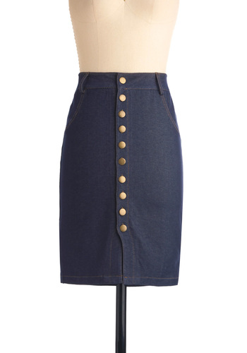 Scholar Me Impressed Skirt - Mid-length, Casual, Blue, Solid, Buttons, Rockabilly