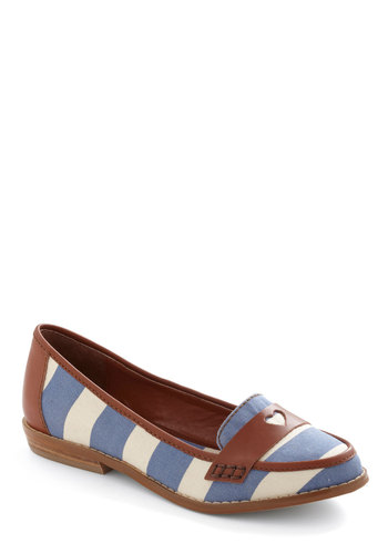 I'll Be Dock Flat by Shellys of London - Brown, White, Stripes, Blue, Nautical
