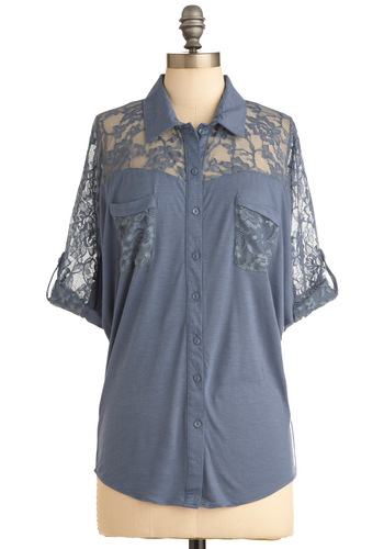 Have It Down Patio Top - Mid-length, Casual, Blue, Solid, Lace, Buttons, Pockets, 3/4 Sleeve