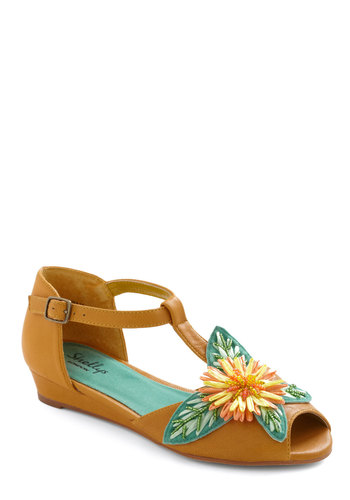 Make Bloom for Beauty Wedge by Shellys of London - Casual, Vintage Inspired, Yellow, Multi, Multi, Buckles, Cutout, Flower