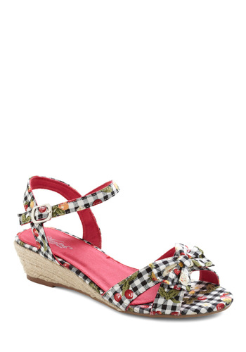 Save Room Wedge - Multi, Red, Green, Black, White, Checkered / Gingham, Bows, Buckles, Woven, Casual, Summer, Fruits, Wedge