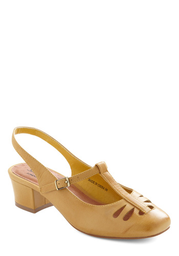 They're a Must Heel by Shellys of London - Yellow, Solid, Cutout, Vintage Inspired, 50s, Work