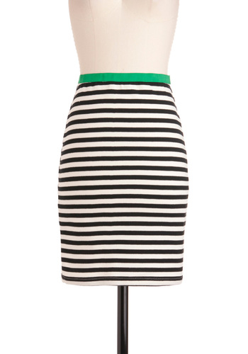 Something New on the Horizontal Skirt - Mid-length, Casual, Urban, Green, Stripes, Black, White