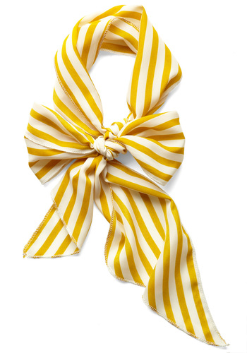 Bow to Stern Scarf in Mustard Stripes - Yellow, White, Stripes, Casual, Nautical, Vintage Inspired, 60s, Basic, Spring, Beach/Resort