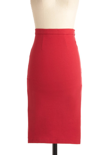 Pencil We Meet Again Skirt - Long, Work, Urban, Red, Solid, Pinup, Rockabilly