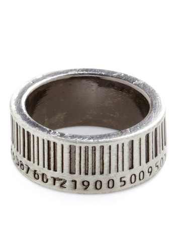 Up to Barcode Ring - Casual, Statement, Silver, Silver
