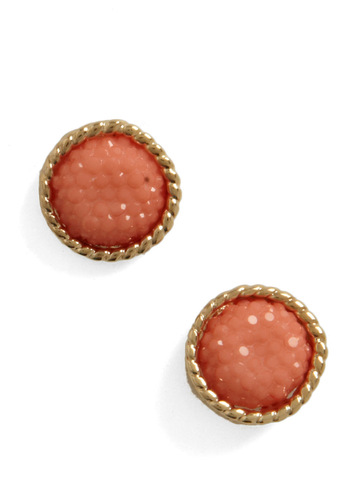 Caviar and Bubbly Earrings - Casual, Vintage Inspired, Orange, Multi, Gold