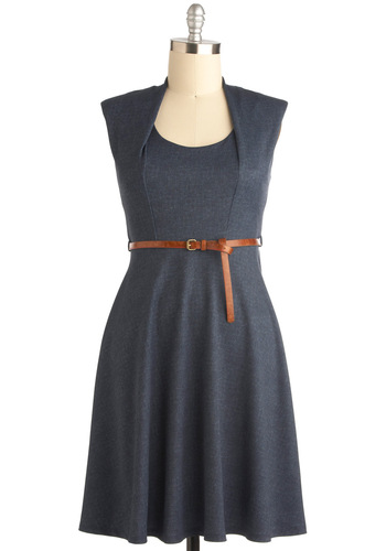 Now and Denim Dress - Long, Blue, Solid, Sleeveless, Belted, Holiday Sale, Work
