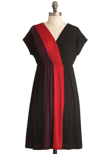 Ray of Bright Dress in Black - Mid-length, Casual, Urban, Black, Multi, Red, Purple, Empire, Short Sleeves, Exclusives, Jersey, V Neck