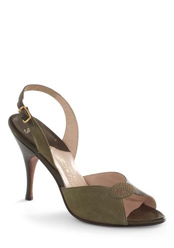 Vintage Reserve Virginia Heel - Green, Solid, Buckles, Rhinestones, 40s, 50s, Peep Toe, Slingback