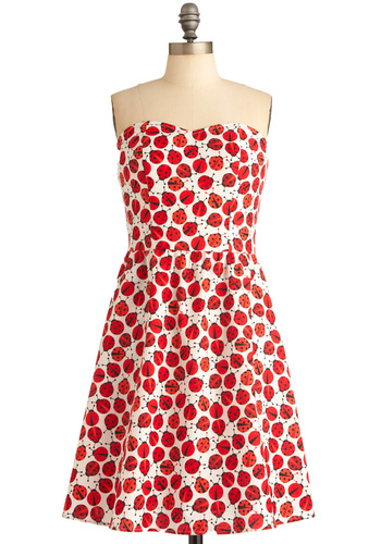 Ladybug in Red Dress - Statement, Red, White, Print with Animals, Strapless, Mid-length, Cotton, Sweetheart, Casual