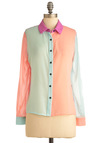 The Bright Choice Top - Urban, Mid-length, Orange, Blue, Pink, Long Sleeve, Pastel, Sheer, Mint, Button Down, Collared, Colorblocking, Tis the Season Sale