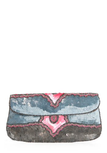 Sequin and Find Clutch - Party, Vintage Inspired, 20s, Blue, Pink, Sequins, Grey, Beads, Formal, Prom, Wedding