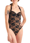 Luck Be a Lacy One Piece by Bettie Page - Vintage Inspired, Tan / Cream, Black, Floral, Lace, Halter, Summer, Steampunk, Beach/Resort
