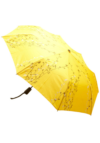 Prepared for Precipitation Umbrella in Yellow - Yellow, Brown, White, Floral, Vintage Inspired, Spring