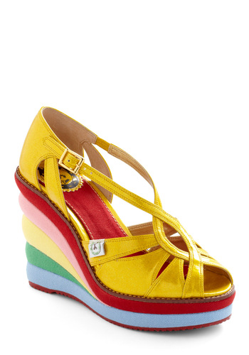 At Rainbow's End Wedge by Miss L Fire - Yellow, Red, Green, Blue, Pink, Cutout, Statement, Wedge