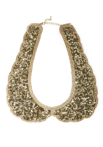 Shine By Me Collar - Party, Vintage Inspired, Gold, Scallops, Trim, Sequins, 60s