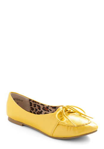 Shop Until You Lemon Drop Flat by Bait Footwear - Yellow, Solid, Lace Up, Flat